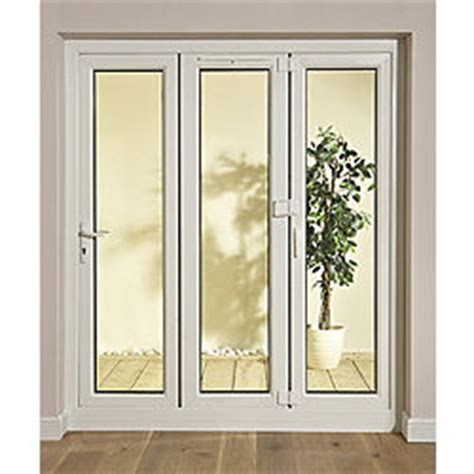 tri fold patio doors glazed white pvcu external patio door frame set h 2009mm w 1790mm rooms diy at b q