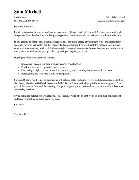 cover letter for team lead position best management team lead cover letter exles livecareer
