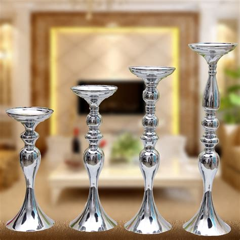 Silver 4 Candle Holder Stand by Gold Silver White Black 4 Kinds Of Color Metal Candle