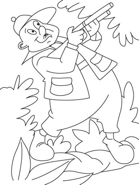 a hunter in jungle coloring page download free a hunter