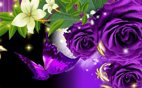 theme violet rose purple butterfly 3d and cg abstract wallpapers on