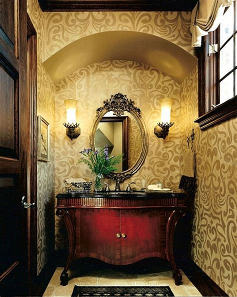 bathroom powder room ideas powder room guest bathroom decor with floral wallpaper