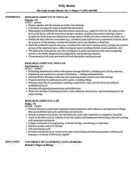 Research Experience Resume by Lab Research Assistant Resume Sles Velvet