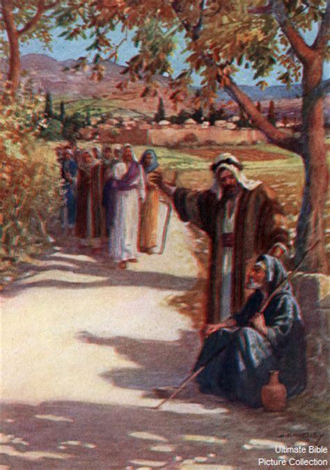 Blind Bartimaus John 9 Bible Pictures Man Speaking To Blind Bartimaeus