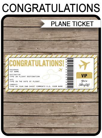 printable congratulations boarding pass gift ticket plane ticket voucher