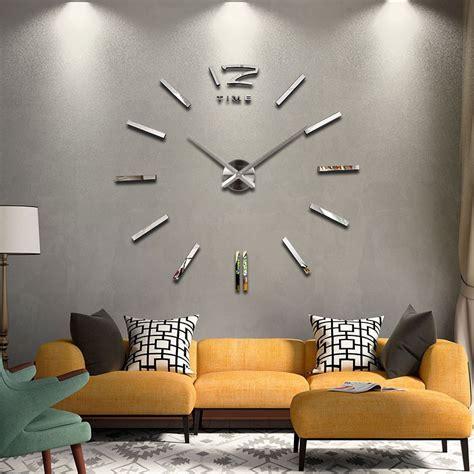 Jam Dinding Diy Acrylic 30 50cm 3d wall clock jam dinding silver jakartanotebook