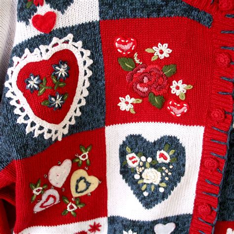 valentines day sweaters lots of hearts patchwork tacky valentines sweater