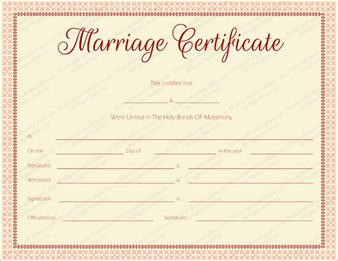 maroon delight marriage certificate template marriage