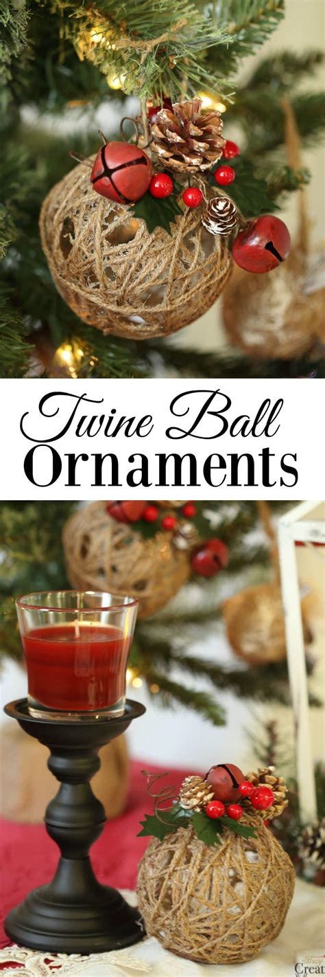 diy glitter twine ornaments rustic ornaments tutorial easy glittered twine