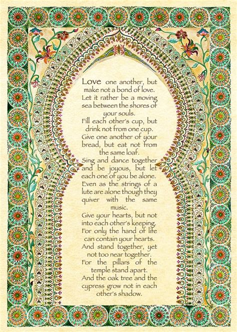 Wedding Anniversary Quotes Kahlil Gibran by About Marriage By Kahlil Gibran Gift