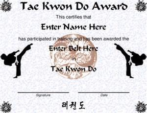 taekwondo certificate template award certificate templates