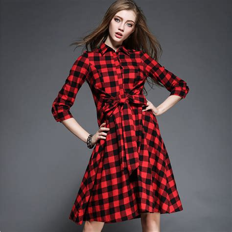 new spring style for wonen 2016 new spring fashion plaid dress women long sleeve