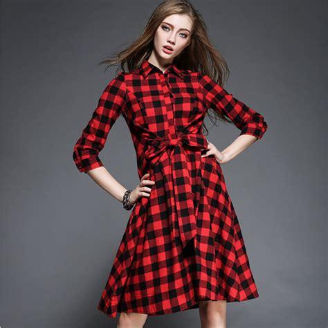 new spring womens styles 2016 new spring fashion plaid dress women long sleeve