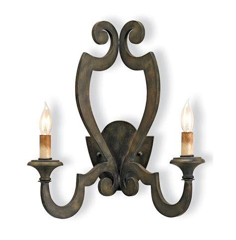 Iron Wall Sconce Renaud Rustic Wrought Iron Scroll 2 Light Wall Sconce Kathy Kuo Home