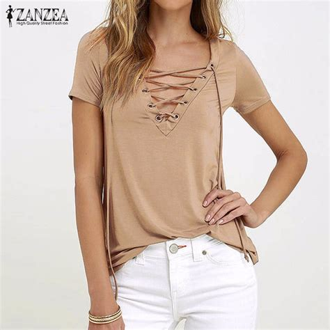 Hollow Casual Top 26968 zanzea 2017 summer v neck blouses sleeve casual hollow out lace up solid shirts