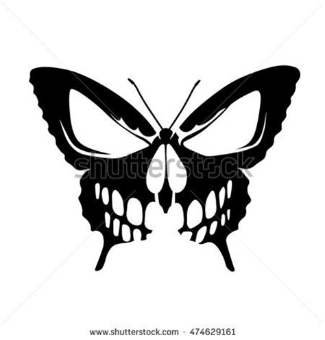 butterfly skull tattoo stock images royalty free images