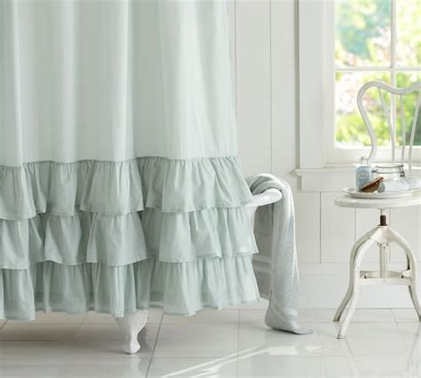 white ruffle shower curtain ruffle shower curtain pottery barn
