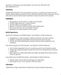 Marine Electrician Cover Letter by Professional Marine Electrician Templates To Showcase Your Talent Myperfectresume