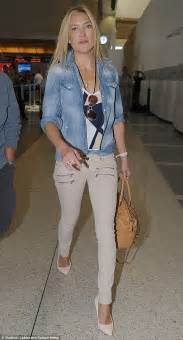 Denim Kate Hudson by Kate Hudson Looks Chic At Lax In Trousers And New
