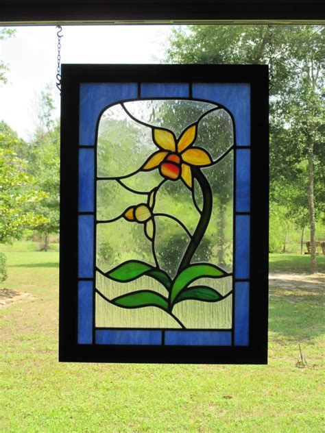 framed leaded stained glass flower panel yellow cattleya