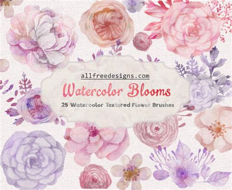 photoshop tutorial watercolor flower watercolor floral brushes 25 images for spring and summer