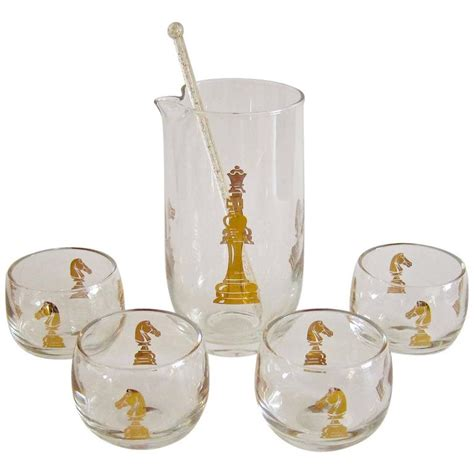 Glass Cocktail Set Mid Century Hickok Checkmate Glass Martini Cocktail Set At