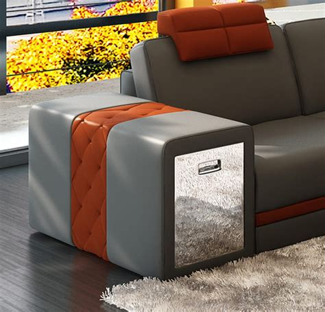 leather sofa with storage 5035b contemporary 2 tone leather sectional sofa w storage