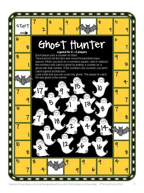 printable board games for math fun games 4 learning halloween math fun