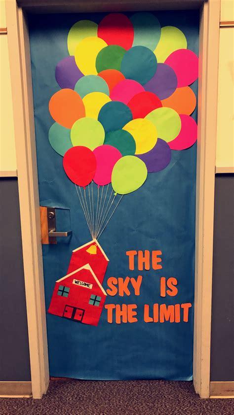 school door decorating the sky is the limit classroom door decoration up balloons welcome door school house colorful