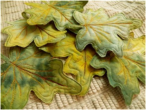 pattern for fabric leaves art threads wednesday sewing leaf art coasters