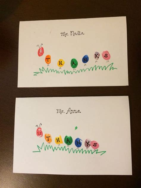 Thank You Note For Handmade Gift - thank you cards for caterpillar fingerprints