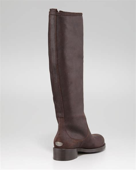 rugged leather boots jimmy choo doreen rugged leather zip knee boot brown faeaa