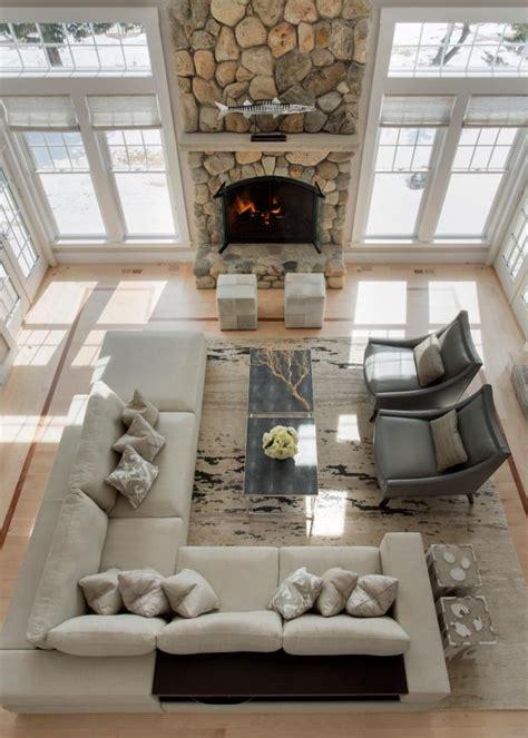 coast living room  dramatic stone fireplace hgtv