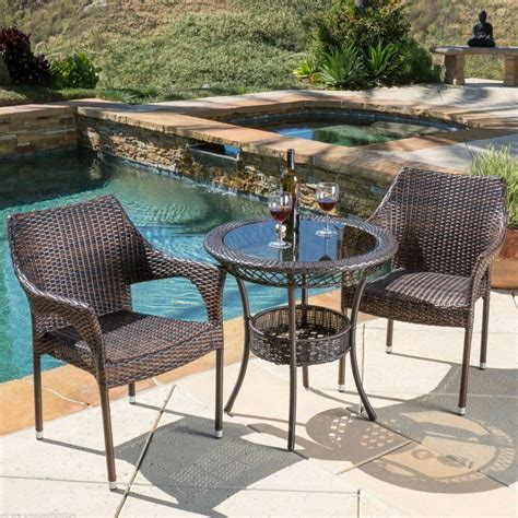 bistro set patio outdoor patio 3pc multibrown all weather wicker glass