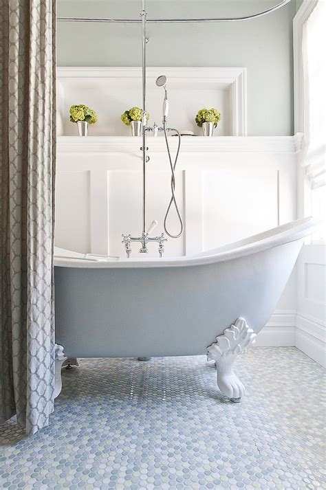 clawfoot tub bathroom design 20 inspirations that bring home the beauty of penny tiles