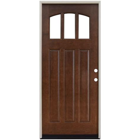 Steves Sons 36 In X 80 In Craftsman 3 Lite Arch Wooden Doors Exterior