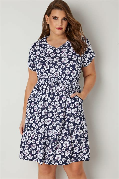 Dress Flower Bodycon Tali Dada Best Seller navy white floral print t shirt dress with pockets