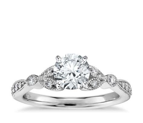 vintage pav 233 leaf engagement ring in 14k