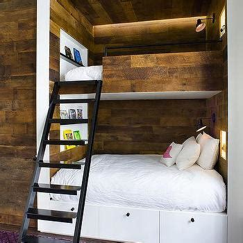 built in bunk beds cottage boy s room hickman design built in plank bunk beds modern boy s room
