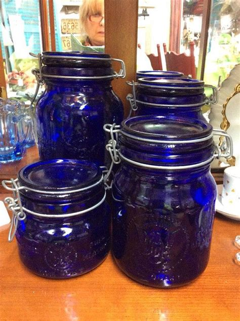 1965 Cobalt Blue Glass Canister Set 4 Piece by