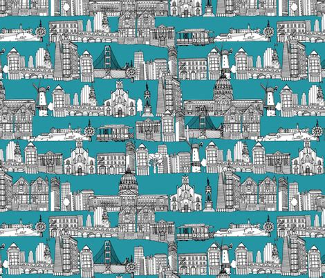 upholstery sf san francisco teal fabric scrummy spoonflower