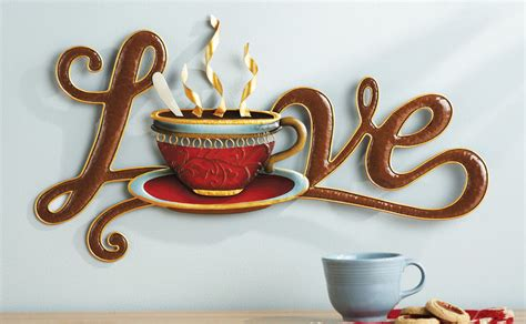 coffee decorative metal wall java cup mug kitchen