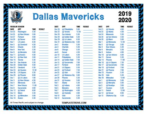 printable   dallas mavericks schedule