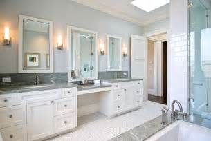 his and hers vanities painted cabinets granite counters