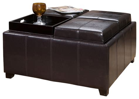 Harley Leather 4 Tray Top Storage Ottoman Espresso Leather Cube Ottoman Storage