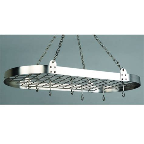 Pot Rack Chain pot racks oval hanging pot rack w grid chains 12 hooks kitchensource