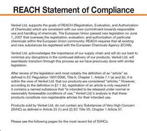 reach declaration template reach compliance venkel