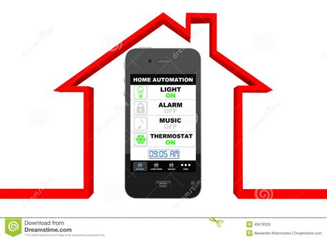 home automation concept mobile phone and house