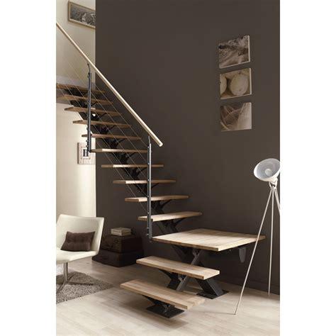 escalier quart tournant mona structure aluminium marche bois leroy merlin