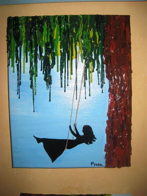 cool painting ideas handmade girl swinging melted crayon on acrylic